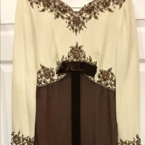 Vintage Evening Gown Beaded Brown &. Cream Couture